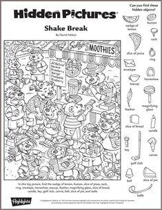 Shake Break hidden pictures puzzle