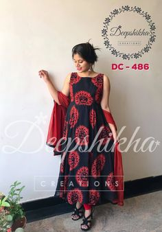 DC - Beautiful red and black color combination floor lenght anarkali dress with net dupatta.For queries kindly WhatsApp : 9059683293 17 March 2018 Churidar Designs, Kurta Designs Women, Blouse Designs, Designer Anarkali Dresses, Designer Dresses, Dress Designs For Stitching, Long Gown Dress, Full Gown, Kurti Designs Party Wear