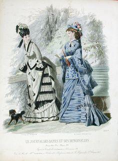 Fashion Prints from Journal Des Dames et Des Demoiselles, Victorian Gown, Victorian Costume, Steampunk Costume, 1870s Fashion, Edwardian Fashion, Vintage Fashion, Vintage Gowns, Mode Vintage, Vintage Outfits