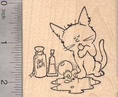 Halloween Cat lapping up Witches Brew Rubber Stamp *** You can find more details by visiting the image link.