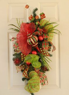 deco mesh pine garland | Christmas Swag Wreath Made With Pine Greenery and Deco Mesh, XL ...