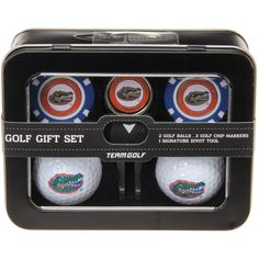 Florida Gators Two Golf Balls, Two Golf Poker Chip Ball Markers and Divot Tool Gift Set
