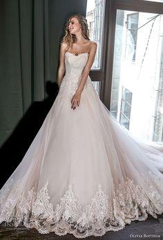 olivia bottega 2018 bridal strapless sweetheart neckline heavily embellished bodice romantic blush a  line wedding dress chapel train (8) mv -- Olivia Bottega 2018 Wedding Dresses