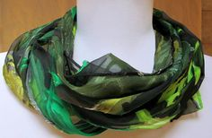 Silk scarf, handpainted, unique gift,  black and green,  Handmade in the USA, one of a kind original