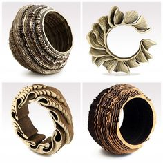 Wood and Cork Carved Jewelery - Anthony Russel is a gifted and talented sculptural artist and designer who also uses his talents to make unique jewelry. Taking inspiration from the things around him he created these amazing