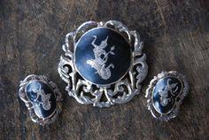 Vintage Siam Sterling broche Clip sur boucles doreilles 925