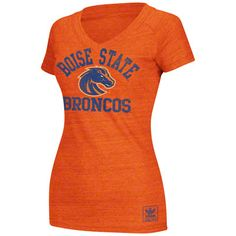 Boise State Broncos Women's Heather Orange adidas Originals Her Homecoming Tri-Blend V-Neck T-Shirt