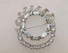 Vintage Christian Dior Sterling Silver Crystal Rhinestone Estate Pin Brooch - http://designerjewelrygalleria.com/christian-dior/vintage-christian-dior-sterling-silver-crystal-rhinestone-estate-pin-brooch/