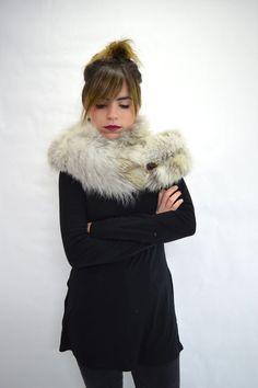 Real fox collar fox collar Platinum/white fox fur collar. by BeFur
