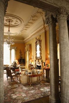 A view of the drawing room at Albemarle House.  It's inspiration was Nancy Lancaster's   yellow drawing room at Avery Row. This room is 36'x24' with a ceiling height of 22'.  The Palladian window in the background takes in the view of the garden.