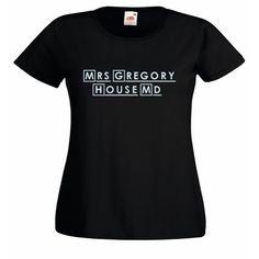 Mrs Gregory House Damen Figurbetont Schwarz T-Shirt mit Himmelblau Aufdruck | eBay