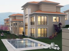 Best pro of houses send to ur lovely ones. Dream Home Design, House Design, Plaster Ceiling Design, House Elevation, Architect House, Tiny House, Swimming Pools, House Plans, Home And Garden