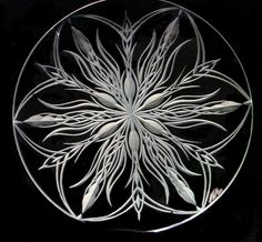 Plate*Hand engraved crystal both sides by Catherine Miller of Catherine Miller Designs * Technique-stone wheel