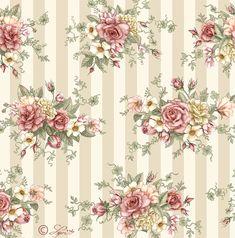 Rose Bouquet on Stripe Papel Vintage, Vintage Diy, Vintage Paper, Vintage Flowers, Trendy Wallpaper, Wallpaper Backgrounds, Rose Wallpaper, Wall Wallpaper, Victorian Wallpaper