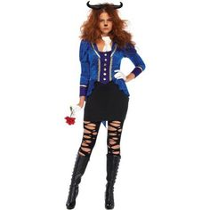 Leg Avenue Womens 3 PC Beastly Beauty Beast Costume, Size: S/M, Multicolor Hipster Halloween Costume, Halloween Costumes For Kids, Adult Costumes, Costumes For Women, Adult Halloween, Halloween Ideas, Beauty And The Beast Costume, Morris Costumes, Neck Piece