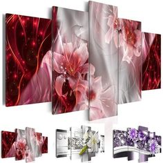 5 Pcs Picture Home Decoracion Canvas Wall Oil Painting Flower Pictures for Living Room Abstract Modern Lilies Paintings No Frame #Affiliate