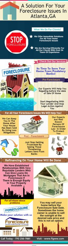 Foreclosure Help Assistance Service In Georgia - http://figww.com - We will negotiate with your lender to stop your foreclosure issues immediately without any issues to your home and review the files for missing documents will correct by Our experts.For more information Call us Today at 770 256-7881.