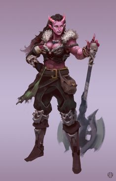 f Tiefling Barbarian Medium Armor Battle Axe female Traveler ArtStation by Connor Wright lg Dungeons And Dragons Characters, Dnd Characters, Fantasy Characters, Female Characters, Fantasy Character Design, Character Design Inspiration, Character Concept, Character Art, Character Ideas