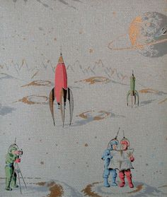 1950's rocket wallpaper