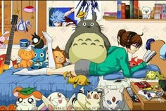 I recognize Totoro, Happy, Plu, Kuroko, Hamtaro, the fox from Inuyasha, Pikachu…