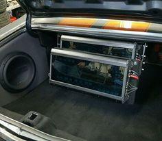 70 chevelle car audio custom trunk install amps subwoofer sub.