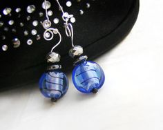 Blue strpe earrings made of venetian glass, $17.90