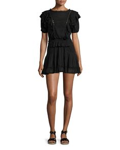 W08X4 Isabel Marant Etoile Naoko Smocked Ruffle Cotton Dress, Black