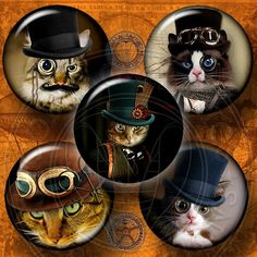 "Steampunk Cat Digital Collage Sheets Printable Downloadable Craft Supplies for Bottle Caps, Jewelry 1.5"", 1.25"", 30mm, 1"", 25mm circles CG-556"