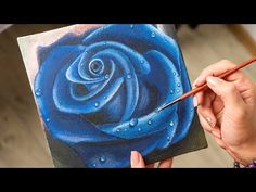 The Blue Rose in the Dew - Acrylic painting / Homemade Illustration Painting Flowers Tutorial, Acrylic Painting Flowers, Simple Acrylic Paintings, Acrylic Painting Tutorials, Acrylic Painting Canvas, Rose Paintings, Simple Watercolor Flowers, Art Flowers, Blue Flowers