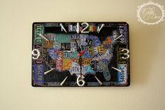 I love Usa! Handmade,metal wall clock