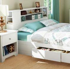 """Amazon.com: Vito Full/Queen Bookcase Headboard (54/60"""") Pure White: Furniture & Decor"""