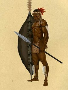 Zulu warrior - art by Robert Revels African Warrior Tattoos, African Tattoo, Zulu Warrior, Tribal Warrior, African American Art, African Art, Fantasy Warrior, Fantasy Art, Soldado Universal
