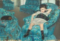 """National Gallery of Art, Washington, DC, has announced dates for next year's Mary Cassatt/Edgar Degas exhibition: May 11 - October 5, 2014.  """"This exhibition brings together some 70 works in a variety of media to examine the fascinating artistic dialogue that developed between the two"""" artists, according to the NGA website.  Image above: Little Girl in a Blue Armchair by Mary Cassatt, 1878 oil on canvas. In the collection of NGA/DC."""