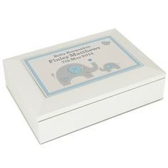 Personalised Blue Baby Elephant White Wooden Keepsake Box  from Personalised Gifts Shop - ONLY £24.99