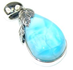 $50.25 Magic Blue Larimar Sterling Silver Pendant at www.SilverRushStyle.com #pendant #handmade #jewelry #silver #larimar