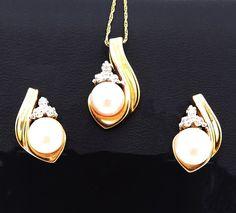 14K Gold Pearl & Diamond Earrings Pendant and Chain Wedding | Etsy 14k Earrings, Pearl And Diamond Earrings, Pearl Diamond, Gold Pearl, Real Gold Jewelry, Gold Filled Jewelry, Unique Jewelry, Etsy Jewelry, Vintage Jewelry