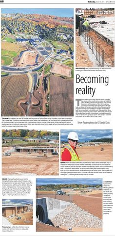 Rotarians in the news. Kent Cartwright is pictured here in the Petoskey News Review today with showing progress at the Petoskey High School's athletic complex.