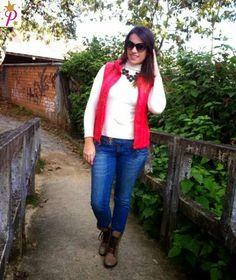 Blog da Pri: Look do Dia - Colete Vermelho