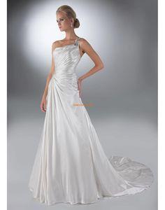 Corte A Brillante Cremallera Vestido de Novia 2014