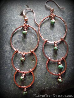 Cascading Love. Copper Chandelier Earrings by EarthGirlDesigns, $38.00