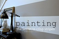 The secret to painting stripes with crisp lines - awesome from @theinspiredroom.