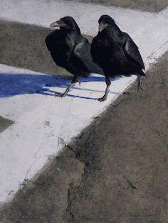 The Crosswalk watercolor gouache graphite ink & colored wax on Twinrocker handmade paper 24 x in. Crow Art, Raven Art, Bird Art, Gravure Photo, Crow Painting, Gouache Painting, Foto Transfer, Jackdaw, Crows Ravens