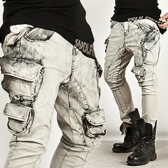 ★SOLD-OUT★ Dark Clouds Wash Skinny Cargo White Jeans - 96