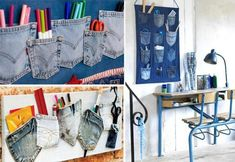 Turn old jeans into wall hanging craft !!