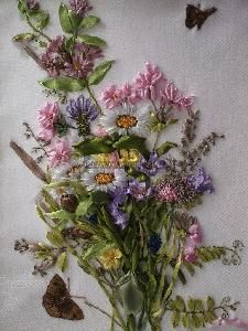 Bouquet Of Field Flowers - satin ribbon embroidery