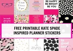 FREE PRINTABLE Kate Spade Inspired Planner stickers for Erin Condren or any other style planner.