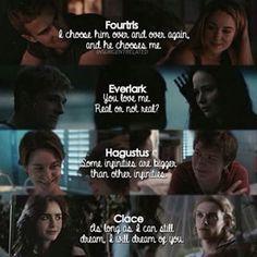 Divergent - Fourtris   The Hunger Games - Everlark   TFIOS - Hagustus   The Mortal Instruments - Clace   Fandoms