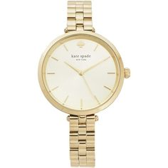 Kate Spade New York Wrist Watch ($310) ❤ liked on Polyvore featuring jewelry, watches, gold, stainless steel jewelry, logo watches, stainless steel watches, water resistant watches and stainless steel jewellery