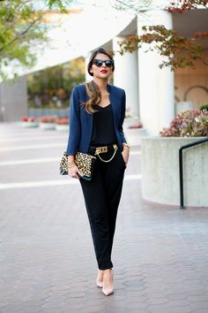 Day to Night outfit, Casual to dressy outfit, Pam Hetlinger, The Girl From Panama, Express leopard clutch, Express Barcelona Cami,  H&M Navy Jacket, black Relaxed Pants, BCBG Toggle Waist Belt, Christian Louboutin Pumps , BaubleBar Bar Necklace, Asos Cat Eye Sunglasses