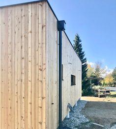 Ausführung 30 m² Haus Lärche Natur mit Flachdach Garage Doors, Outdoor Decor, Home Decor, Flat Roof, Nature, Decoration Home, Room Decor, Carriage Doors, Interior Decorating